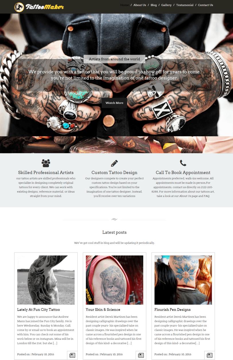 Tattoo Maker – The Tattoo WordPress Theme