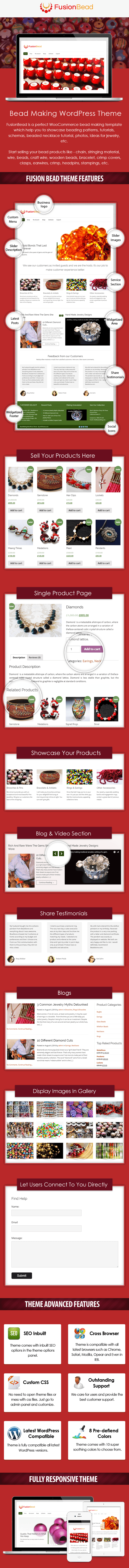 Bead Making WordPress Theme Sales Page Preview