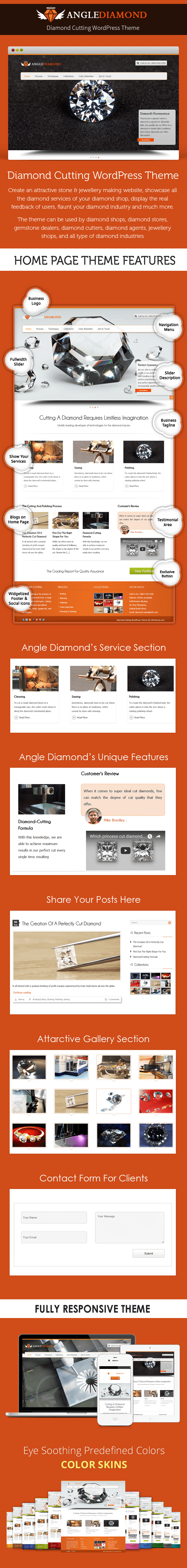 Diamond Cutting WordPress Theme Sales Page Preview