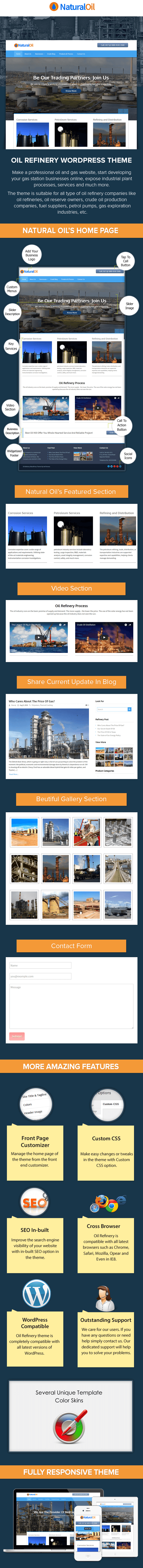 Oil Refinery WordPress Theme Sales Page Preview