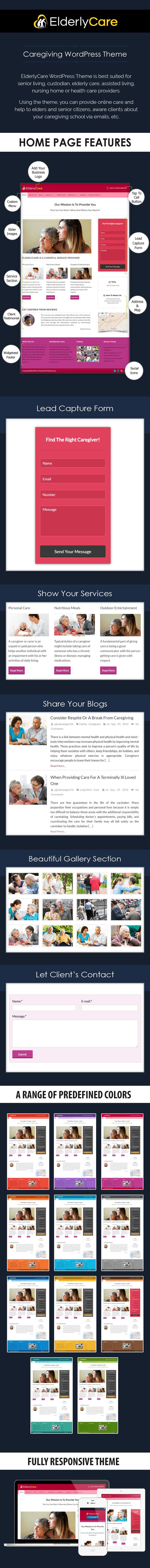 Caregiving WordPress Theme Sales Page Preview