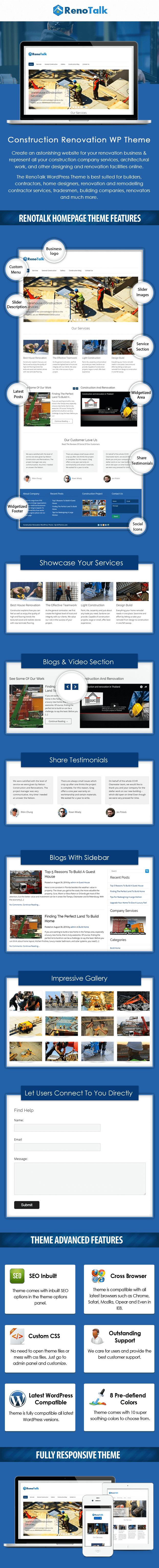 Construction Renovation WordPress Theme Sales Page Preview