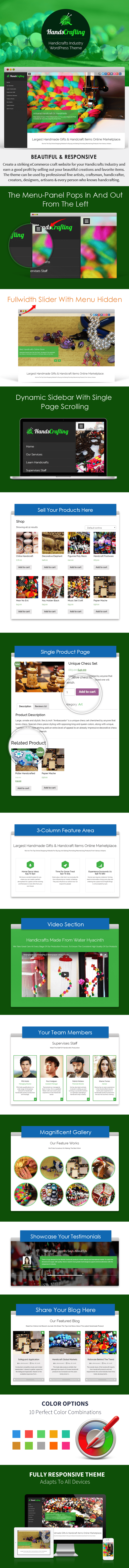 Handicrafts Industry WordPress Theme Sales Page Preview