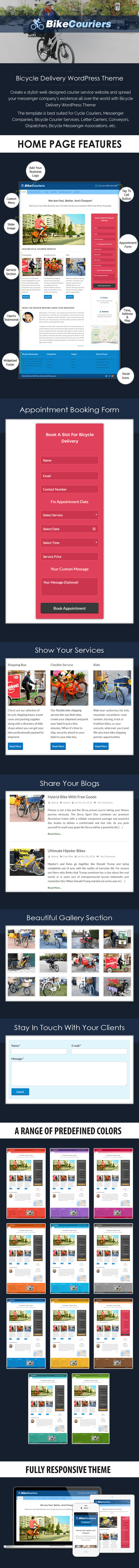 Bicycle Delivery WordPress Theme Sales Page Preview