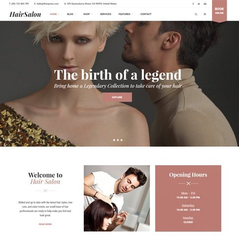 hair salon wp theme