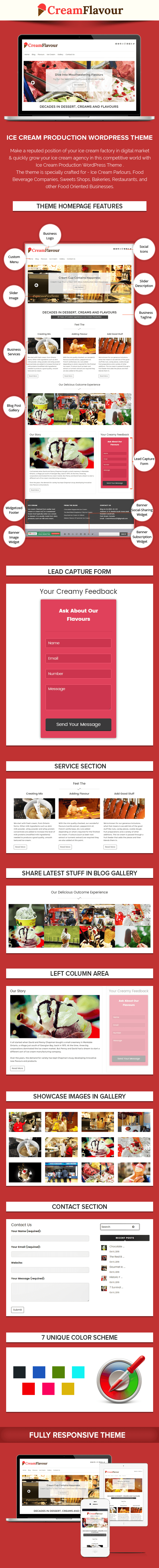 Ice Cream Production WordPress Theme Sales Page Preview