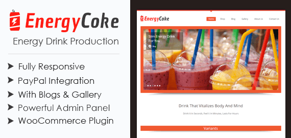 Energy Drink Production WordPress Theme