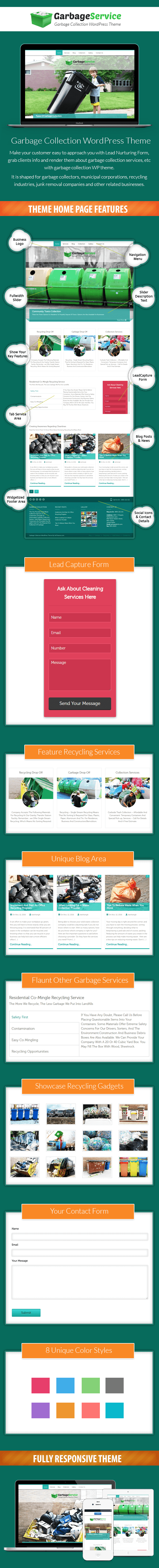 Garbage Collection WordPress Theme Sales Page