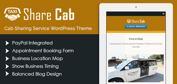 Cab Sharing Service WordPress Theme