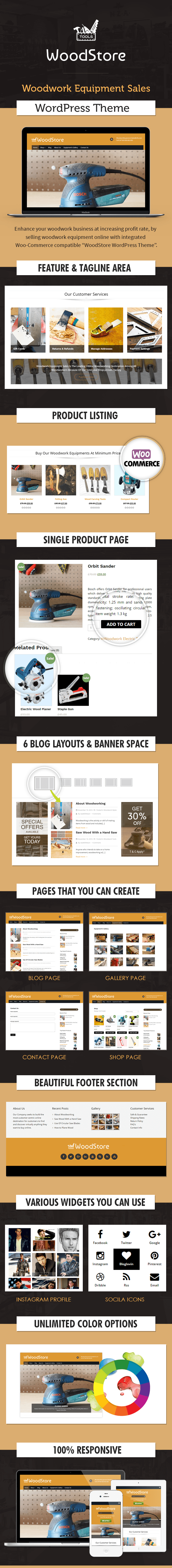 WoodWork Equipment Sales WordPress Theme Sales Page Image