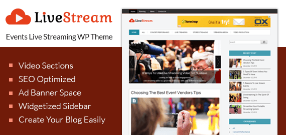 Events Live Streaming WordPress Theme