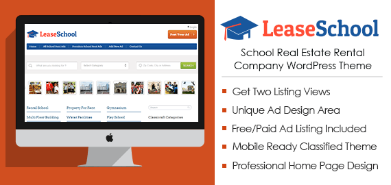 School Real Estate Rental Company WordPress Theme