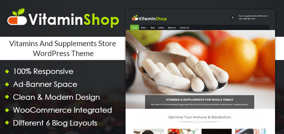 Vitamins And Supplements Store WordPress Theme
