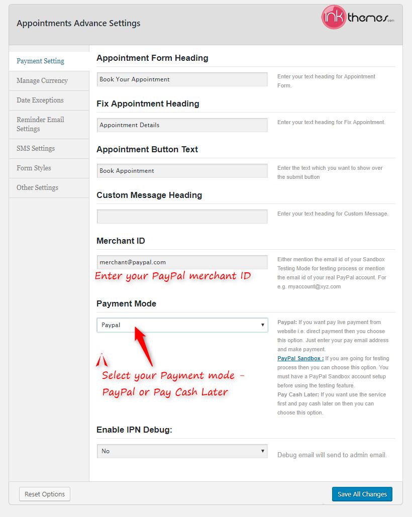 Ink Appointment WordPress Plugin