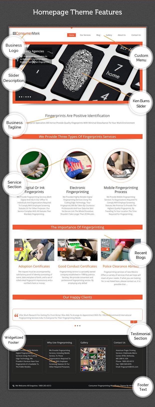 Features -  Fingerprinting Service WordPress Theme