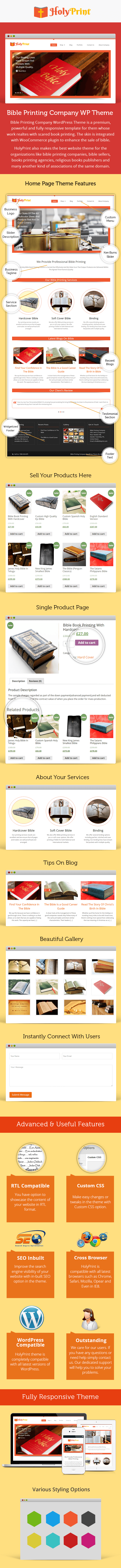 Bible Printing Company WordPress Theme Sales Page