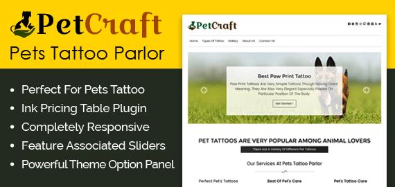 Pets Tattoo Parlor WordPress Theme & Template