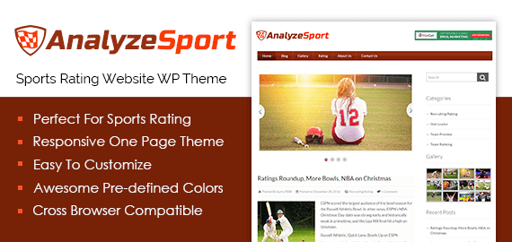 Sports Rating Website WordPress Theme