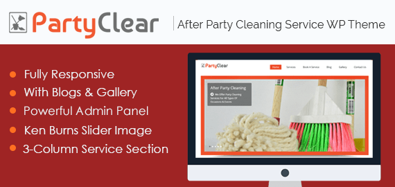 After Party Cleaning Service WordPress Theme