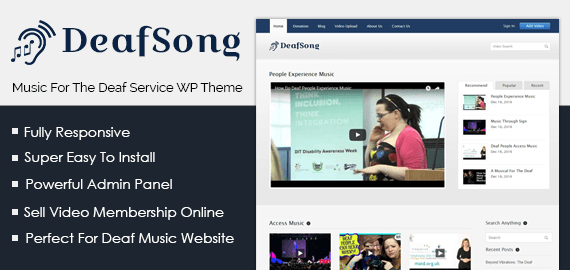 Deaf Song – Music For The Deaf Service WordPress Theme