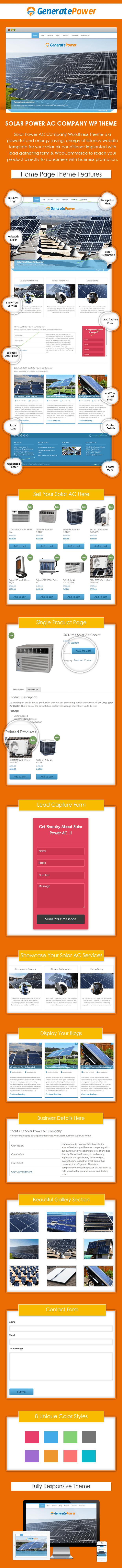 Solar Power AC Company WordPress Theme sales page