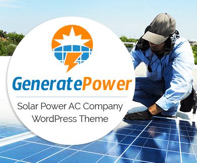 Generate Power - Solar Power AC Company WordPress Theme & Template