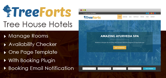 Tree House Hotels WordPress Theme