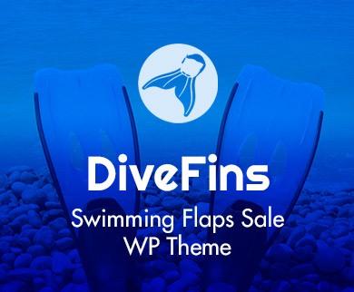 Dive Fins - Swimming Flaps Sale WordPress Theme & Template