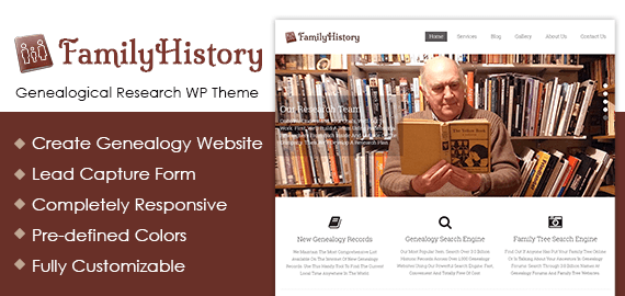 genealogical research wordpress theme
