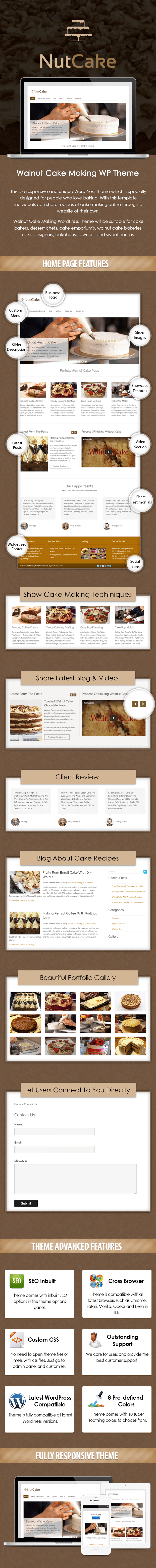 Walnut Cake Making WordPress Theme