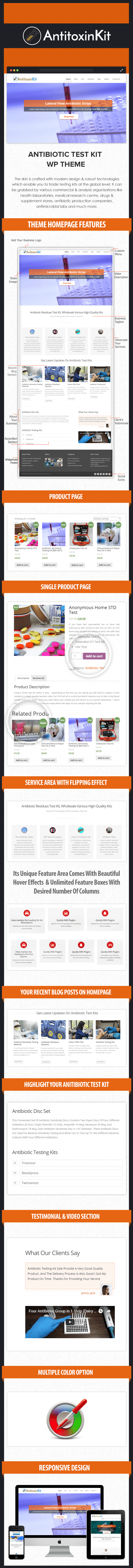 Antibiotic Test Kit WordPress Theme Sales