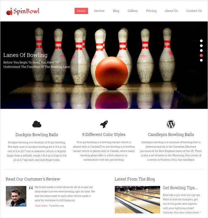 Bowling Center WordPress Theme
