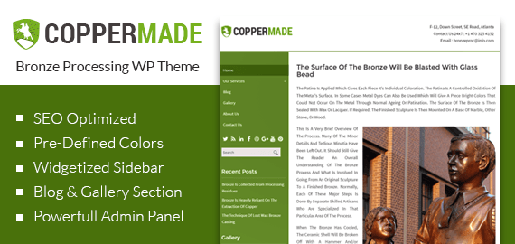 Bronze Processing WordPress Theme & Template