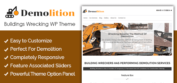 demolition buildings wrecking wordpress theme inkthemes