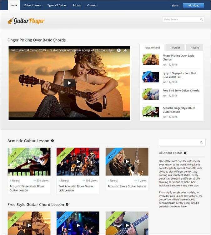 Guitar WP theme