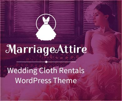 MarriageAttire - Location de vêtements de mariage Thème WordPress