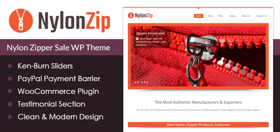 Nylon Zipper Sale WordPress Theme