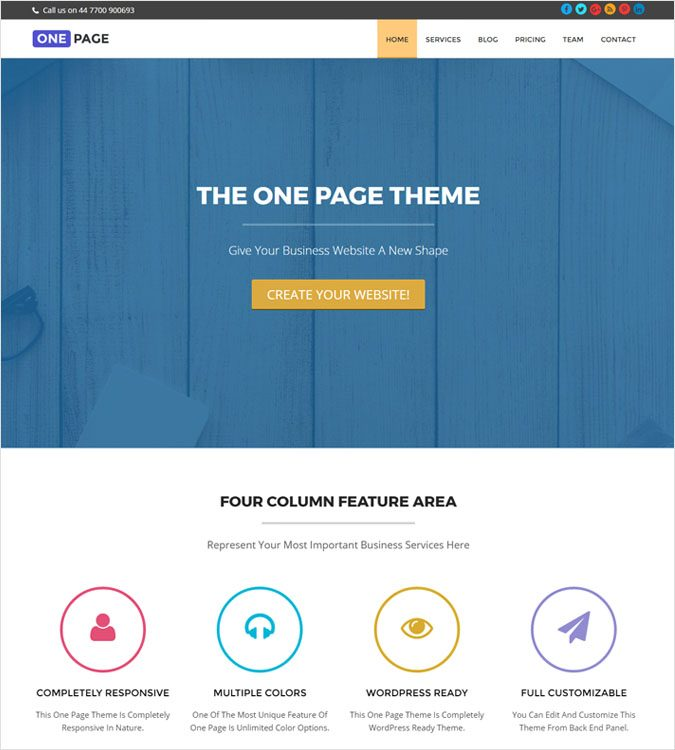 OnePage WP theme