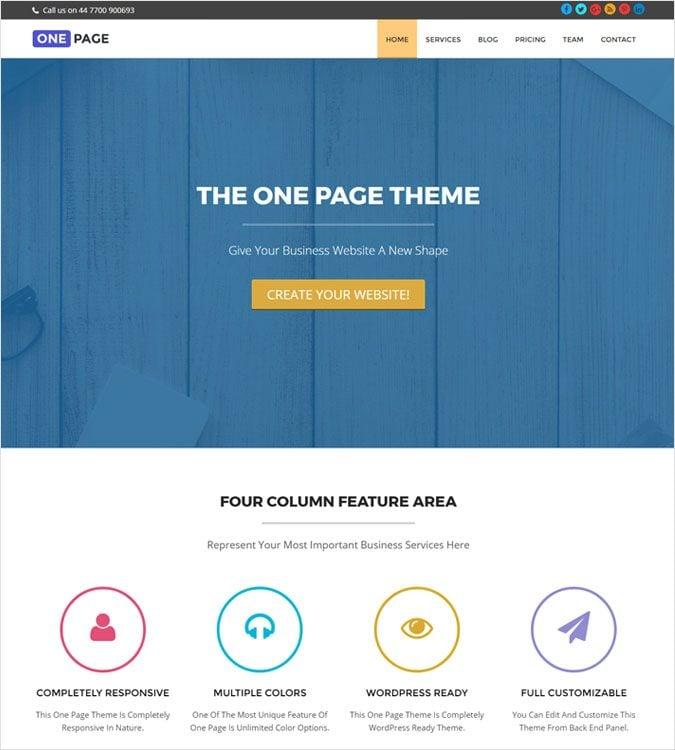OnePage WP theme