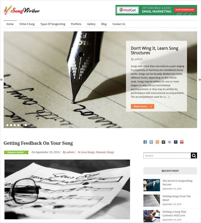 SongWriter WP theme
