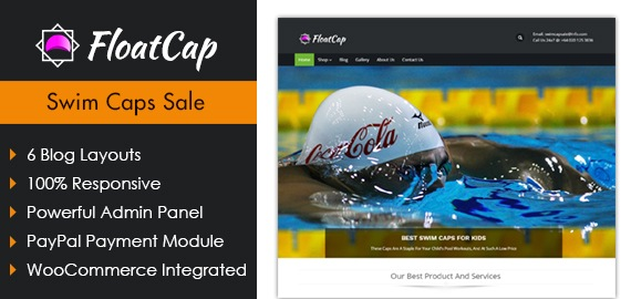 Float Cap – Swim Caps Sale Ecommerce WordPress Theme
