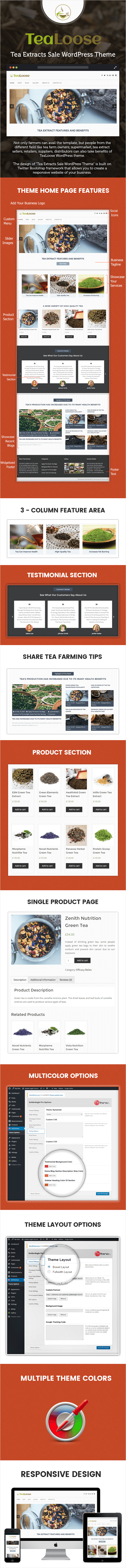 Tea Extracts Sale WordPress Theme Sales Page Image