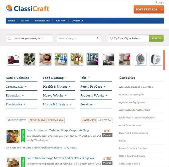 WordPress Classified Ad Listing Theme
