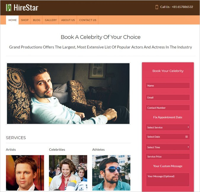 hirestar-celebrity wordpress theme