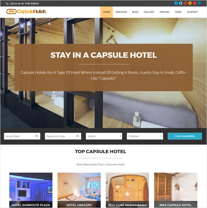 Capsule Hotels WordPress Theme