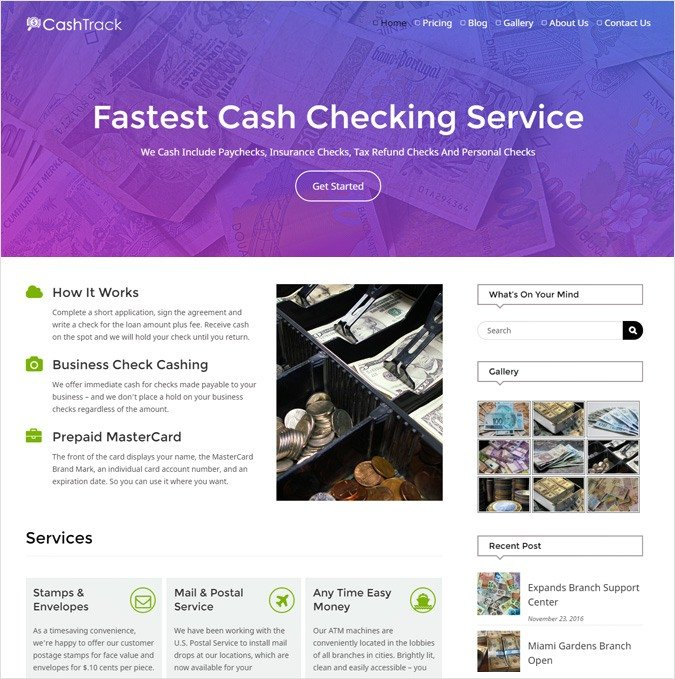 Cash Checking Company WordPress Theme
