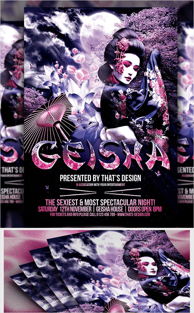 Geisha Party Flyer Template