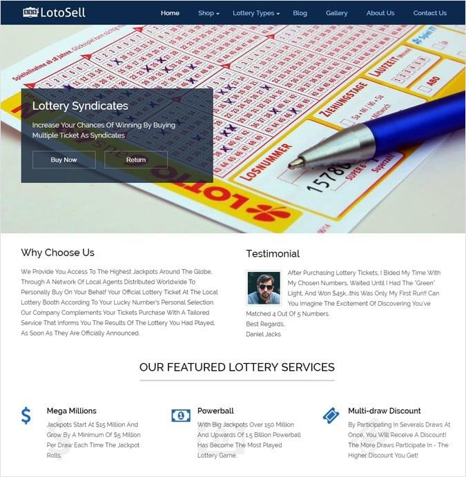 Lottery Ticket Sale WordPress Theme