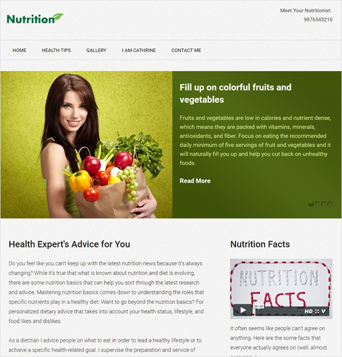 Nutrition WP theme