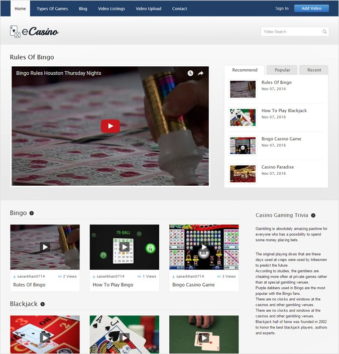 Online Casino WordPress Theme
